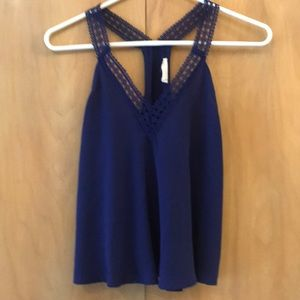 Lush blue XS top with racer back lace straps